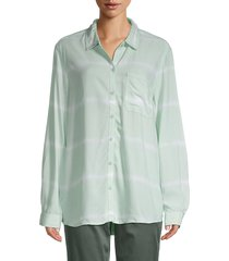 beach lunch lounge women's alanna tie-dye shirt - sage - size s