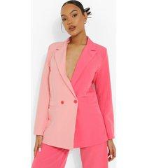 oversized roze colour block blazer, pink