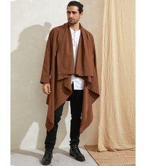 cárdigan midi de manga larga irregular con abrigo informal de color sólido para hombre