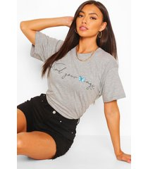 find your wings graphic t-shirt, grey