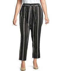 plus striped belted pants