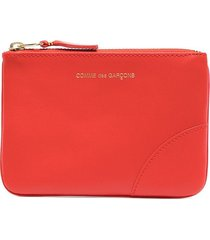 comme des garçons wallet logo-print zip-up wallet - orange