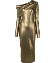 lapointe metallic-effect cowl neck dress - bronze