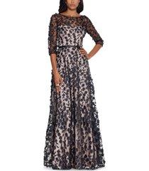 xscape floral applique gown