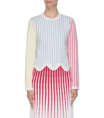 colourblock stripe print wavy hem sweatshirt