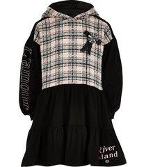 river island girls black boucle tiered sweat dress