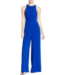 women's halston heritage wide leg jumpsuit, size 2 - blue