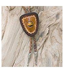 tiger's eye and leather bolo tie, 'hip cowboy' (thailand)