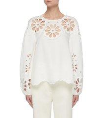 'sora' oversize broderie detail puff sleeve linen blend blouse