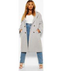 plus getailleerde nepwollen jas met dubbele knopen, grey