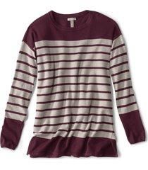cotton/cashmere/silk striped tunic sweater