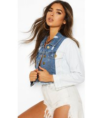 petite block distressed cropped jacket, blue