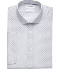 calvin klein dove gray stripe pattern slim fit short sleeve dress shirt