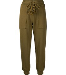 ulla johnson tassel fastening track pants - green