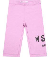 msgm lilac leggings for babygirl wih logo