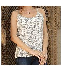 cotton camisole top, 'grey beauty' (india)