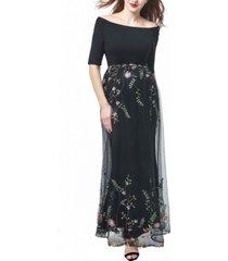 kimi + kai willow maternity embroidered mesh maxi dress