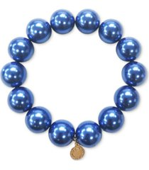 charter club gold-tone blue imitation pearl stretch bracelet, created for macy's