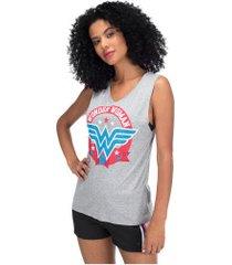 camiseta regata liga da justiça mulher-maravilha college - feminina - cinza