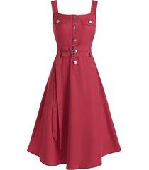 button belted high waist cargo dress