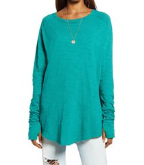 women's free people arden extra long cotton top, size x-small - green