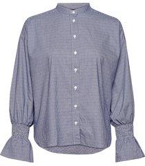 d1. tp smock sleeve check shirt overhemd met lange mouwen blauw gant
