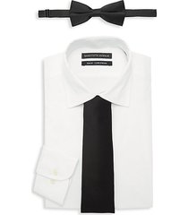 3-piece slim-fit dress shirt, bow tie & tie set