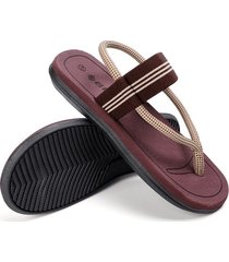 sandalias de verano antideslizantes con clip para hombre-marrón