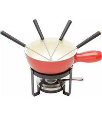 aparelho de fondue de cerâmica lyor vermelho com 8 peças