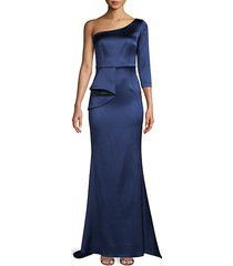 draped front satin one-shoulder gown