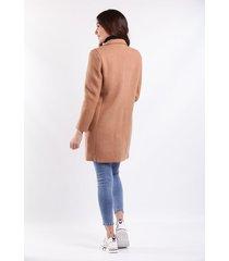 abrigo cafe para dama con bolsillos laterales