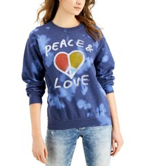 junk food women's peace & love cotton tie-dye sweatshirt