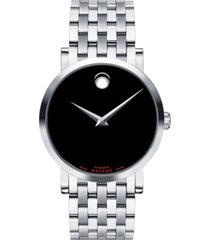 movado men's swiss automatic red label stainless steel bracelet watch 38mm