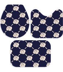kit 3 tapetes decorativos para banheiro wevans flores marinho