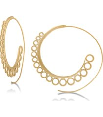 "rachel rachel roy gold-tone 2-1/4"" spiral large hoop earrings"