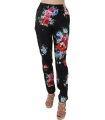 floral print pyjama style tapered pants