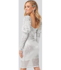 na-kd party puff shoulder sequin mini dress - silver