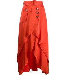 self-portrait belted high-waisted skirt - orange