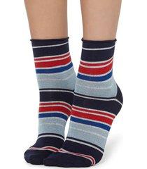 calzedonia fancy striped socks woman light blue size tu