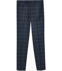 mens navy check skinny pants