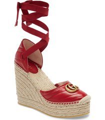 women's gucci palmyra ankle tie espadrille wedge, size 11us - red