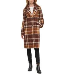 calvin klein plaid single-breasted walker coat