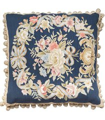 almofada aubusson silk flores 4 dark blue - 50 x 50