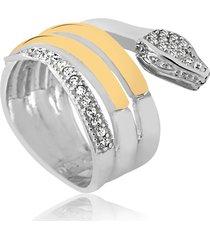 anel prata mil cobra de prata c/ filete de ouro e zircônia prata