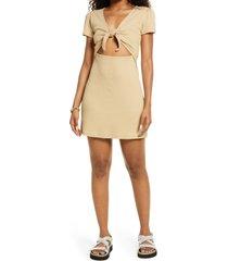 women's bp. tie front dress, size x-small - beige