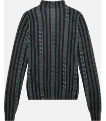 greca neon print silk sweater