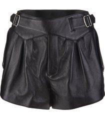 high-waisted shorts in shiny black textured leather