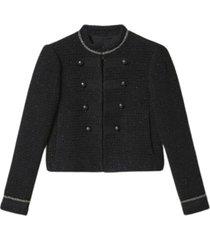 bouclé blend jacket with collar