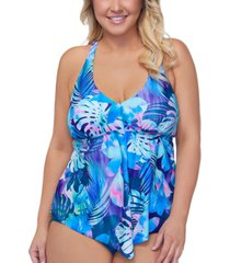 raisins curve trendy plus size vieques trinadad printed tankini top women's swimsuit