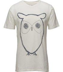 alder big owl tee - gots/vegan t-shirts short-sleeved creme knowledge cotton apparel
